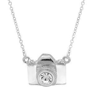 White enamel Camera Necklace